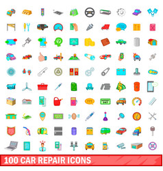 100 car repair icons set cartoon style vector image vector image