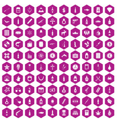 100 smuggling goods icons hexagon violet vector