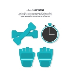 Weight gloves chronometer icon fitness design vector