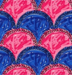 Artistic color brushed blue pink arched chevrons vector