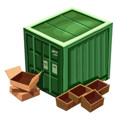 Large green container for goods and box vector image