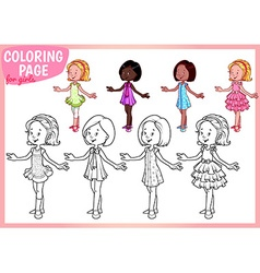 Coloring page for girls four young ladies in vector