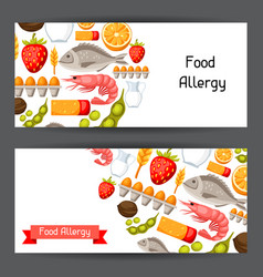 Food allergy banners with allergens and symbols vector