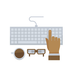 man hand typing on computer keyboard isolated in vector image