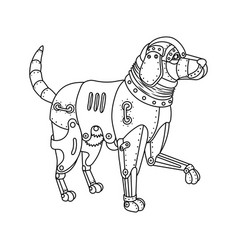 Steam punk retriever dog coloring book vector