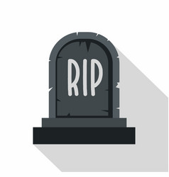 Stone tombstone rip icon flat style vector