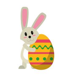 easter rabbit hugging egg vector image
