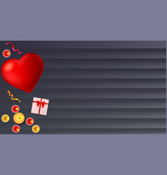 romantic background big red heart burning vector image