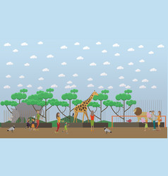 Zoo concept in flat style vector