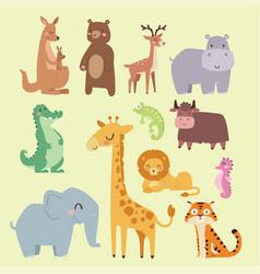 Cute zoo cartoon animals isolated funny wildlife vector