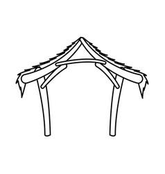 Manger hut wooden decoration nativity outline vector