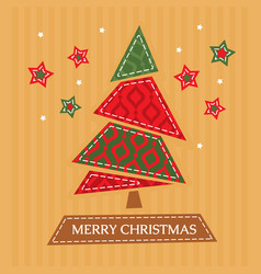 Christmas greeting card with tree vector