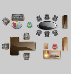 set top view office interior design vector image