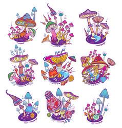 Groups of decorative mushrooms vector