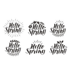 hello spring lettering label set calligraphy vector image