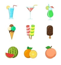 Fruits ice cream drinks vector