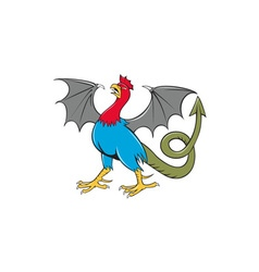 Basilisk bat wing crowing cartoon vector