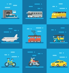 Travel vehicles set flat design vector