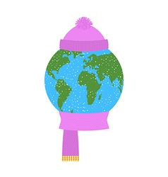 Earth winter planet in knitted hat and scarf vector
