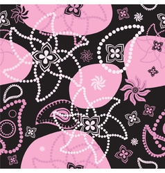 bright seamless decorative floral texture at black vector image
