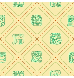 Seamless background with glyphs of the maya vector
