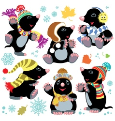 Cartoon mole winter set vector