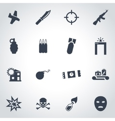Black terrorism icon set vector