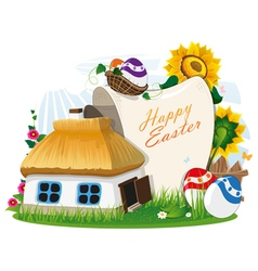 Easter rural background vector