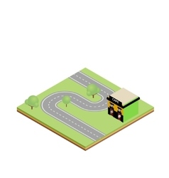 Isometric country road with cafe vector
