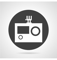 Action camera black round icon vector