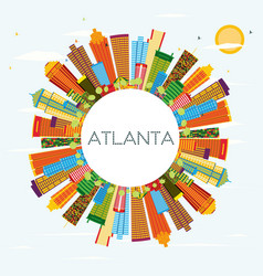 Atlanta skyline with color buildings blue sky and vector