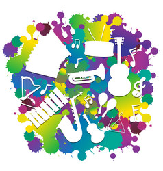 Background with silhouette musical instruments vector