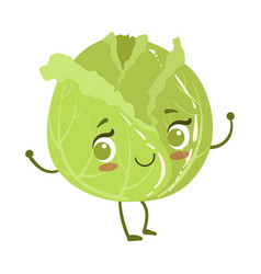 Cabbage cute anime humanized smiling cartoon vector