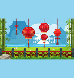 Chinese theme background with red lanterns vector