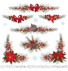 Christmasnew year garlandborderscorner set vector