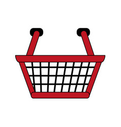 Color image cartoon shopping basket with double vector