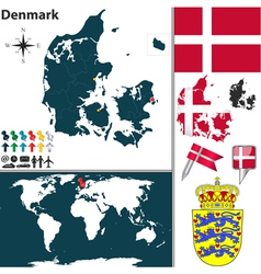 Denmark map world vector