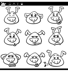 Dog emoticons cartoon coloring page vector