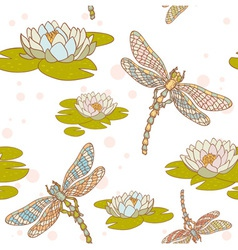 Dragonfly lotus seamless vector image