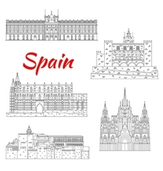 Famous tourist sights of spain thin line icon vector