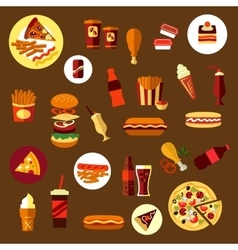 Fast food and takeaway drinks icons vector