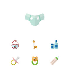 Flat baby set of nappy rattle toy and other vector