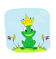Frog Prince Cartoon Character vector image