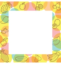 Fruits Outline Icons On Border vector image
