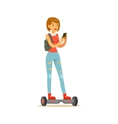 Girl with backpack and smartphone riding electric vector
