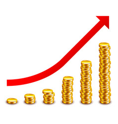 gold coins growth graph isolated on white vector image