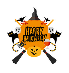 halloween sign with pumpkin witches hat brooms vector image