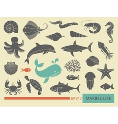 Marine life icons vector image