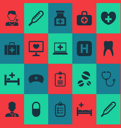 Medicine icons set collection of chest hospital vector