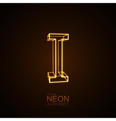 Neon 3D letter I vector image vector image